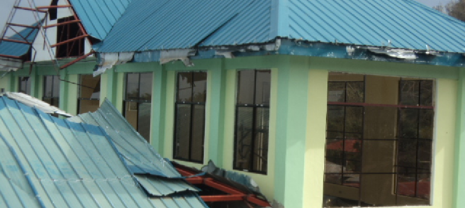 damage of roofings, gutter