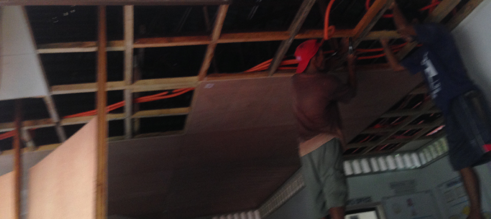 60% on-going repair of ceiling