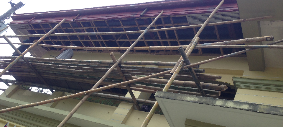 30% on-going repair of ceiling outside the  Municipal Hall