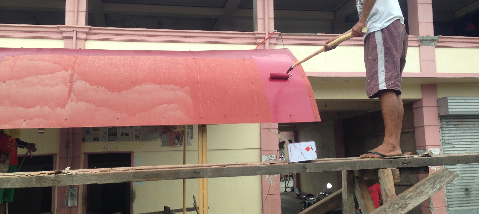 60% on-going painting of canopy at the back of public market