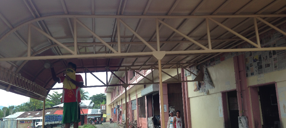 90% on-going repair of canopy at the back of public market